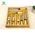Bamboo Kitchen Drawer Organizer Wood Expandable Silverware Organizer Utensil Holder Cutlery Tray