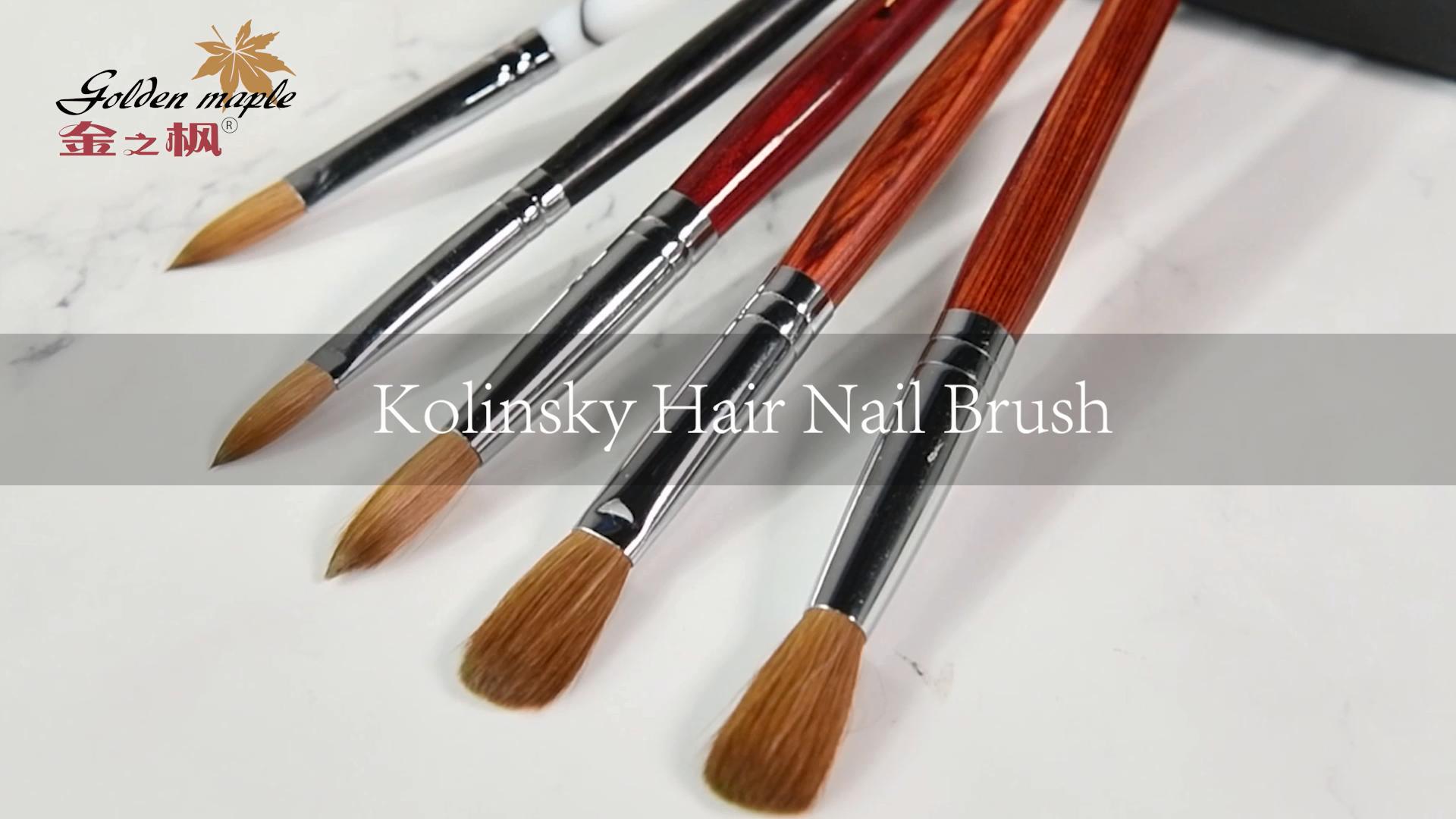 Fuumuui 100% pur kolinsky acrylique brosse à ongles avec poignée en acrylique 2 # ~ 24 #