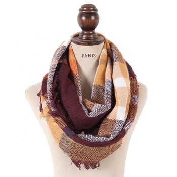 Fashion women cheap 72 colors stock new acrylic winter plaid snood scarf tartan plaid infinity scarf