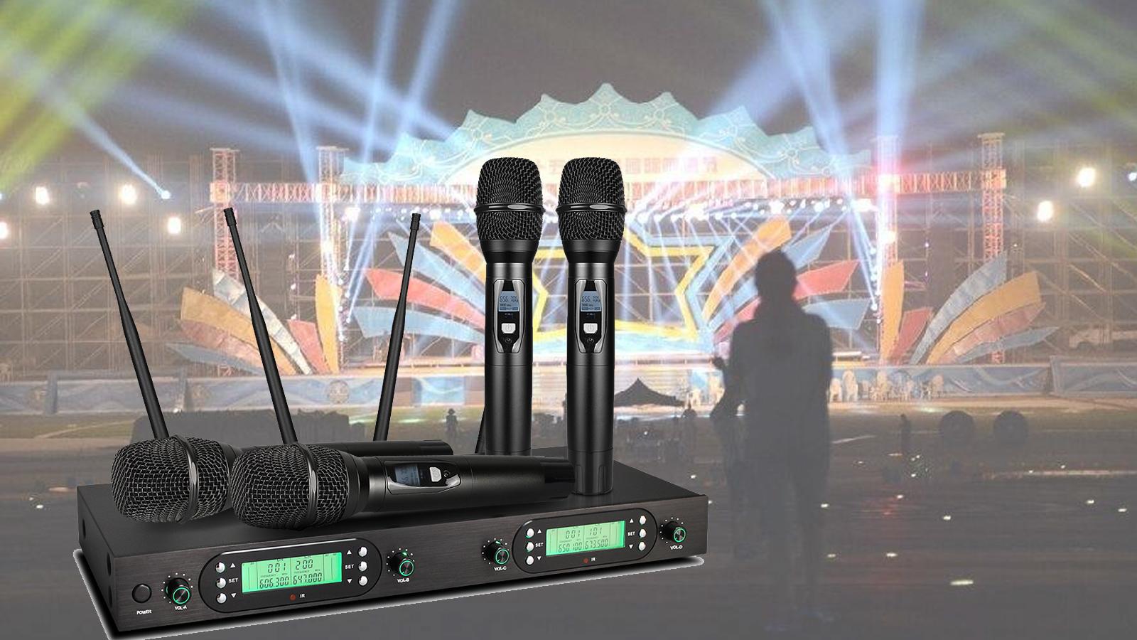 2020 Frekuensi Selestable Jarak Jauh Lapel Microphone Wireless 4 Channel Microphone Handheld
