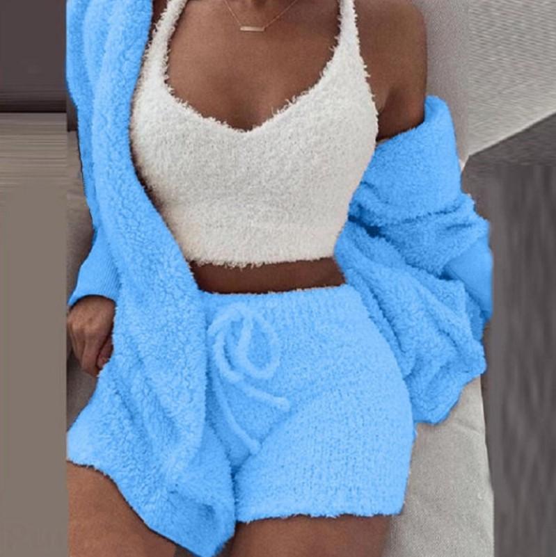 2020 queda 10 cores inverno mulheres vest + top + calções roupa de duas peças de roupas de pelúcia 3 peça curta Queda conjunto