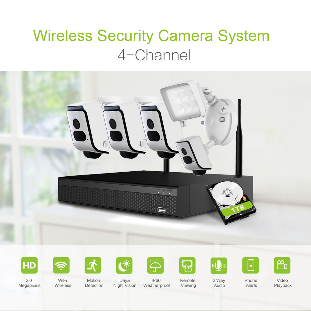 Home 1080P 4CH NVR Wireless CCTV KIT System Waterproof Camera dvr 4channel security camera system