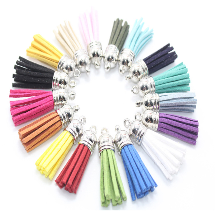 silver gold cap colored mini korean leather suede tassel for bag