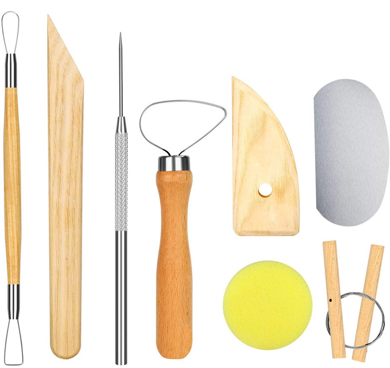 Amazon Hot Sale Pottery & Polymer Clay Tools Kit, Steel Tips with Wooden Handles, The Most Essential Wooden Sculpting Clay Tools