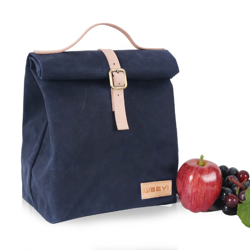 Custom reusable premium best quality vintage waterproof  insulated waxed canvas lunch bag