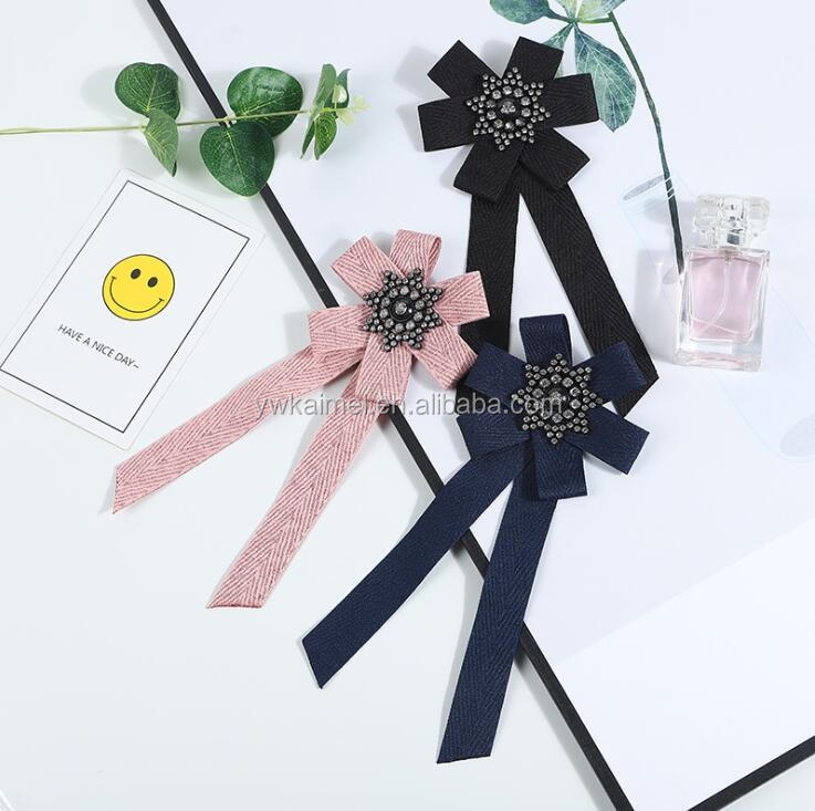 Fashion DIY Fabric Bow Brooches For Women Neck Tie Pins Party Wedding Large Ribbon Brooch Jewelry Clothing Accessories