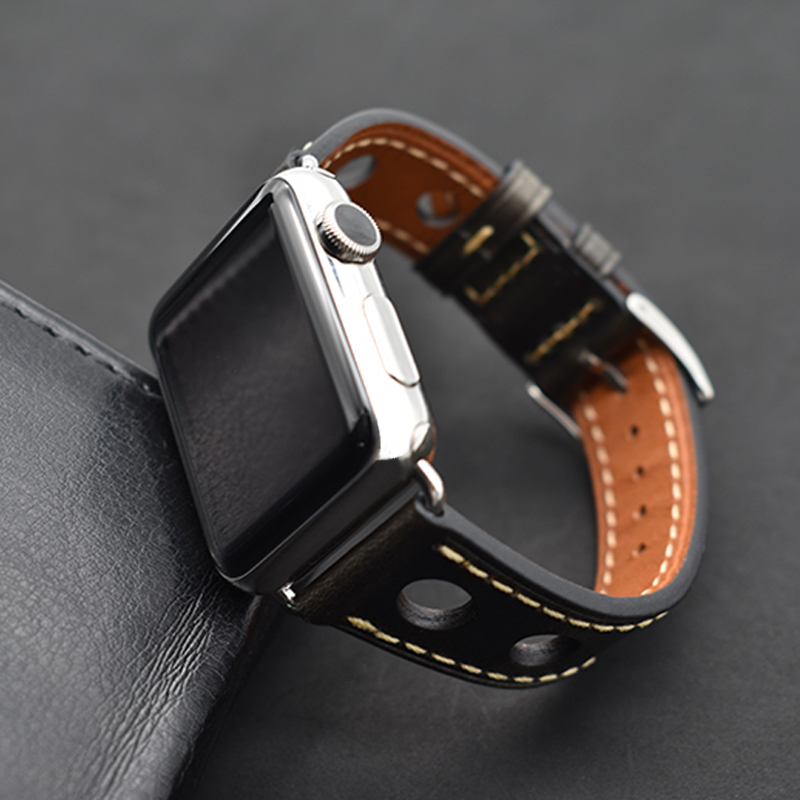 Supplies Wholesale High Quality soft Leather Watch Band For Apple Watch 38mm 40mm 42mm 44mm