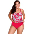 Red White Floral Tankini 2pcs Bathing Suit Fat Women Boutique Dashiki Swimsuit