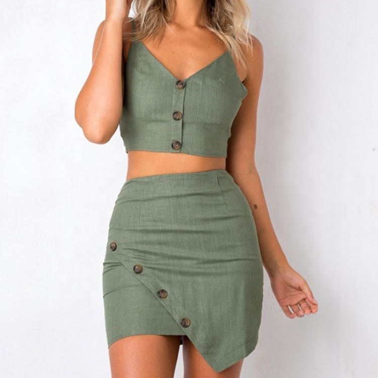 Sexy Short Mini Bodycon Skirt V Neck Top Women 2 Piece Set Clothing