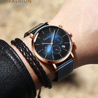Cucstomized LOGO Milanese Strap Chronograph Sport Watch For Men