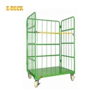Warehouse collapsible heavy duty nesting foldable logistic steel european metal industrial crates wire mesh roll cage trolley