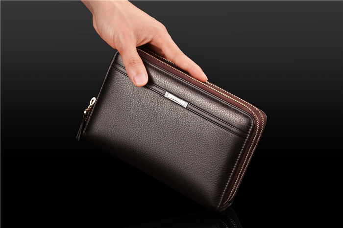 Custom wholesale korean big capacity double long PU leather men's clutch bag wallet with zipper