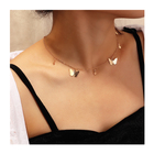Alloy Pendant Clavicle Chain Plated Butterfly Choker Necklace