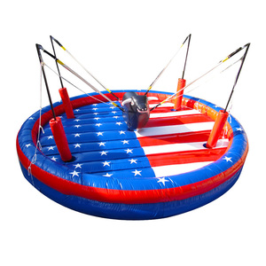 Crazy Manumotive Rope Rock Inflatable Bull Riding Jumping Mat Game