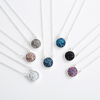 New 6 Colors Drusy Druzy Pendant Necklace Resin Geometric Irregular Round Charms Silver Colour Chain Fashion Brand Jewelry Women