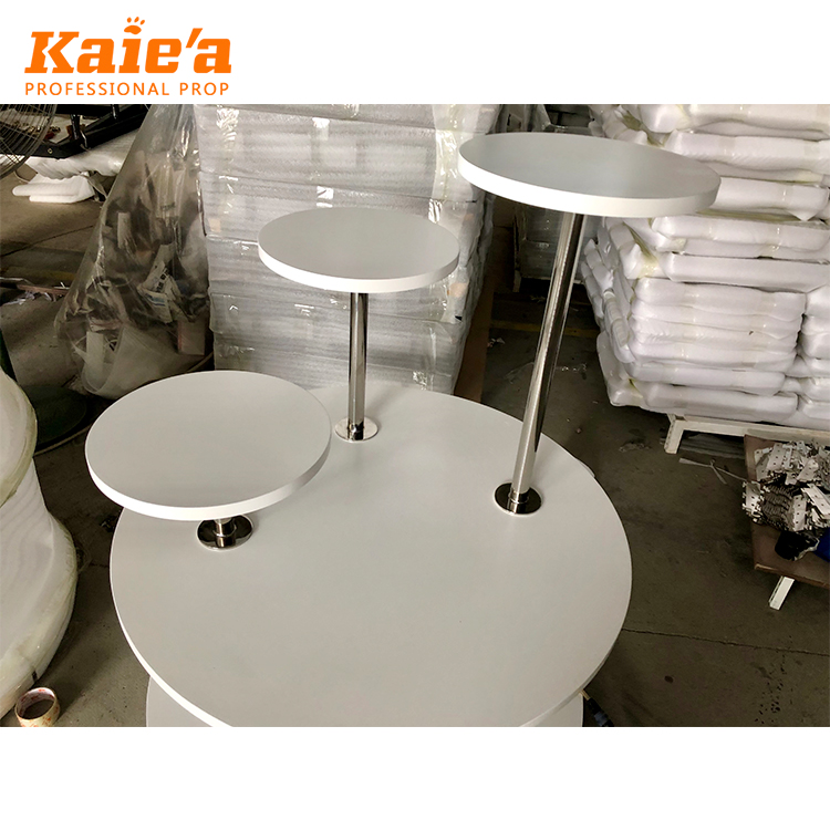 Retail Store Wooden White Round Nesting Rack Display Table Shoes showcase Table for Boutique Handbag