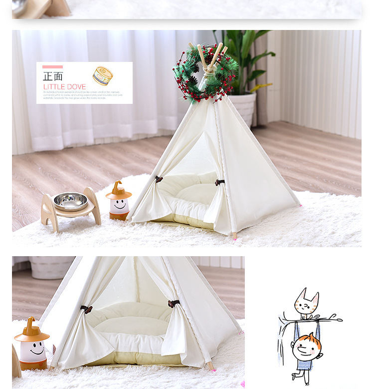 Wholesale Factory Waterproof Outdoor Teepee Portable Pet Bed with Tent For Puppy