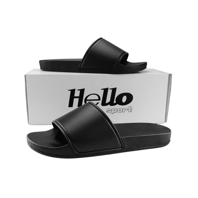Happyslide Wholesale Comfort Indoor Slipper Black Plain Slides Sandals Designer Custom Men Slides Footwear Men