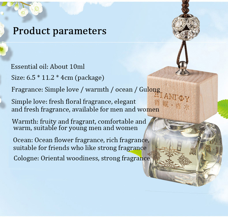 Promotional  Car Perfume Bottle For Essential Oils Diffuser Hanging Crystals Air Fresheners Liquid Car Air Freshener