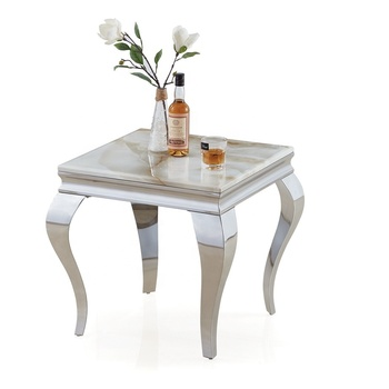 Contemporary Luxury Visionnaire Home Philosophy Square Stainless Steel Coffee Side Table Marble End Table