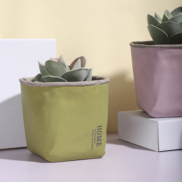 Fresh paper bag shape design custom logo cement home garden decoration ceramic mini succulent pot for weddings