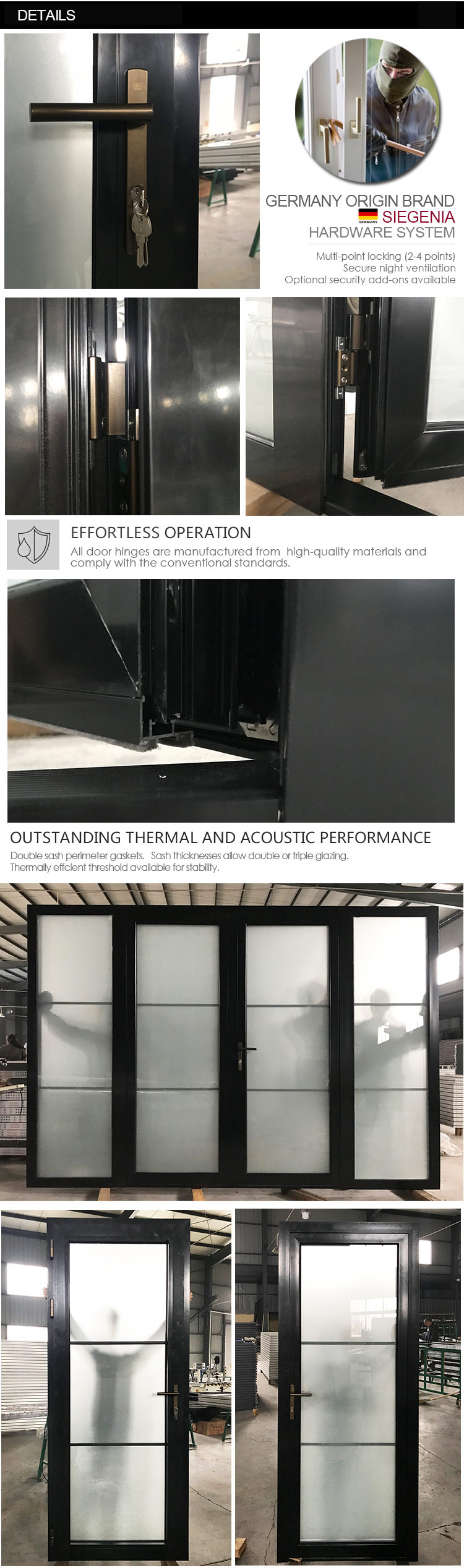 Small moq double glazed front entrance door in german depot & home commercial Sound proof thermal break aluminum transom doors