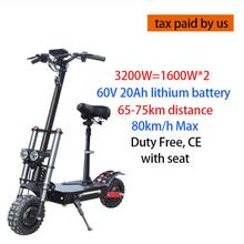 60V3200W электрический скутер 11 дюймов моторное колесо внедорожных полных шин двойной мощный E скутер складной взрослых EScooters длинная Ховербор...(Китай)