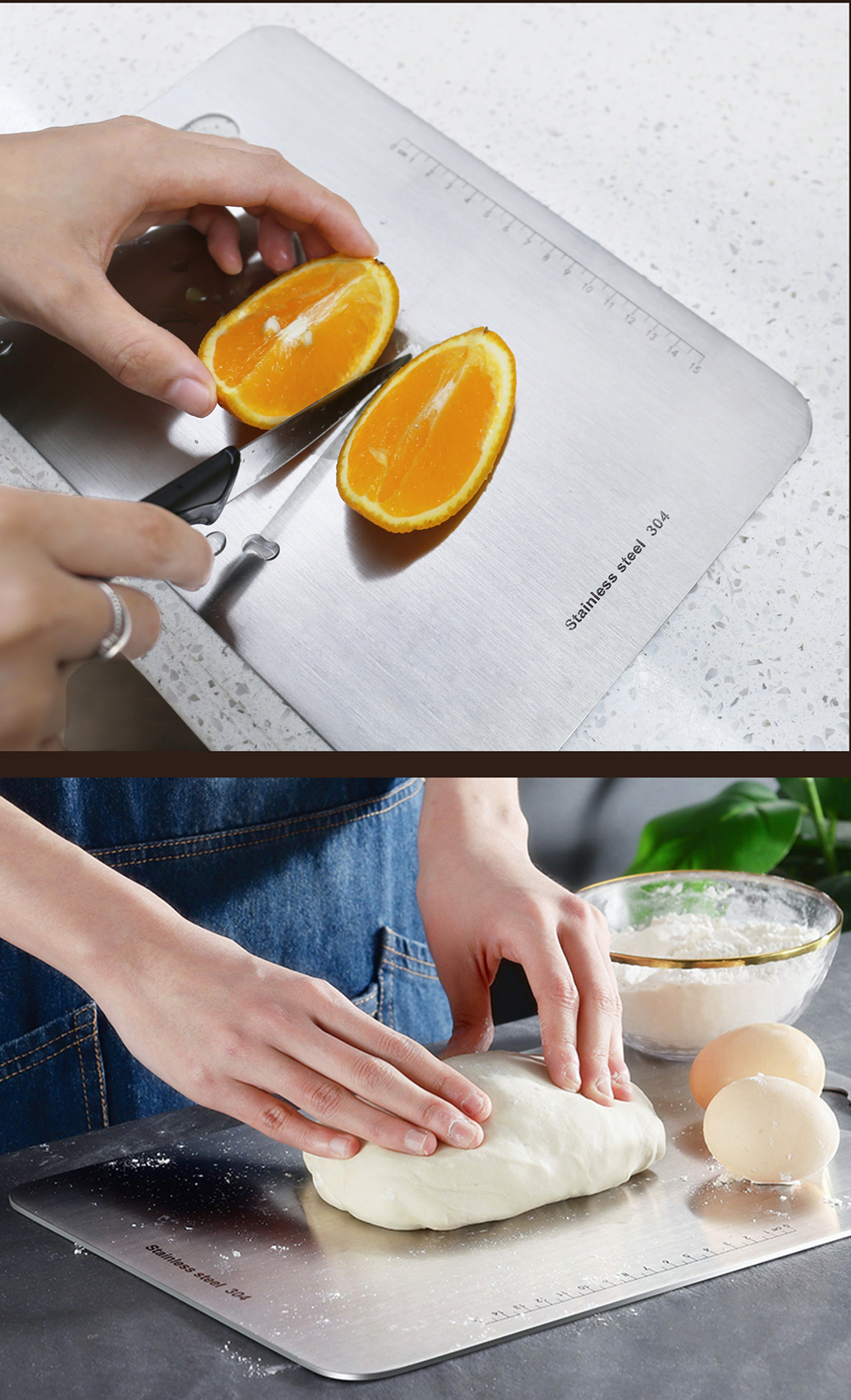 Kitchen Function Fruit Vegetable Meat Cutting Board With Hole Stainless Steel Thick Chopping Board