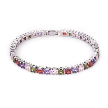 White Gold Plated Diamond Bracelet Jewelry Lady Luxury Austrian CZ Cubic Zircon Crystal Tennis Bracelet