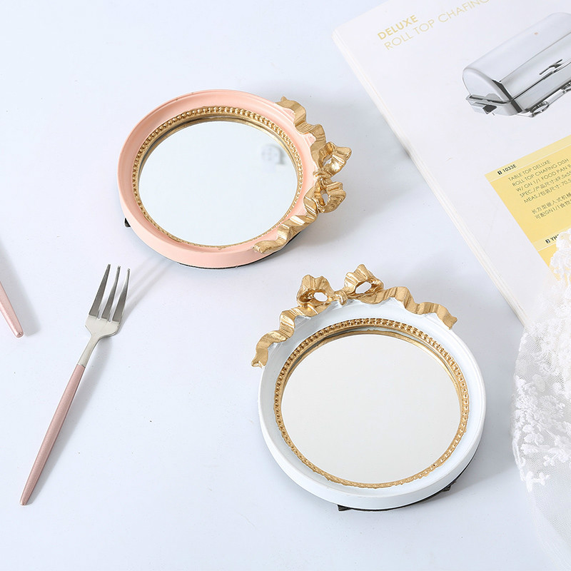 Portable Resin Tray White Storage Trays Golden Mirror Dish Ring Food Sushi Trinket Plate Kitchen Organization Home Decor Crafts