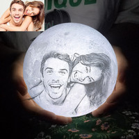 8-24cm LED Night Light 3D Printing Moon Lamp, Warm and Cool White Dimmable Touch Control