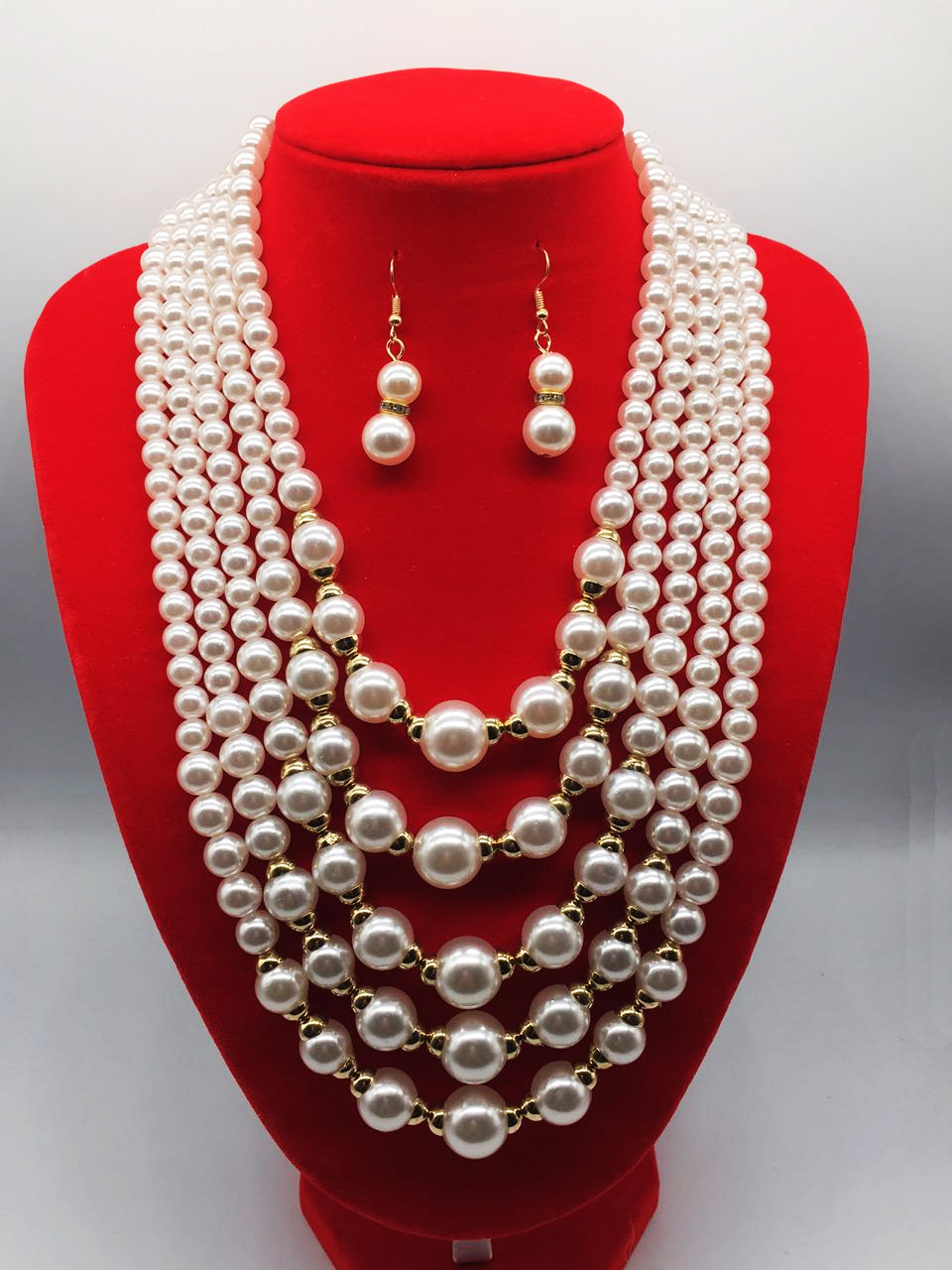 Charm pearl necklace and earring sets simple beaded multi-layered necklace charm jewelry sets factory wholesale