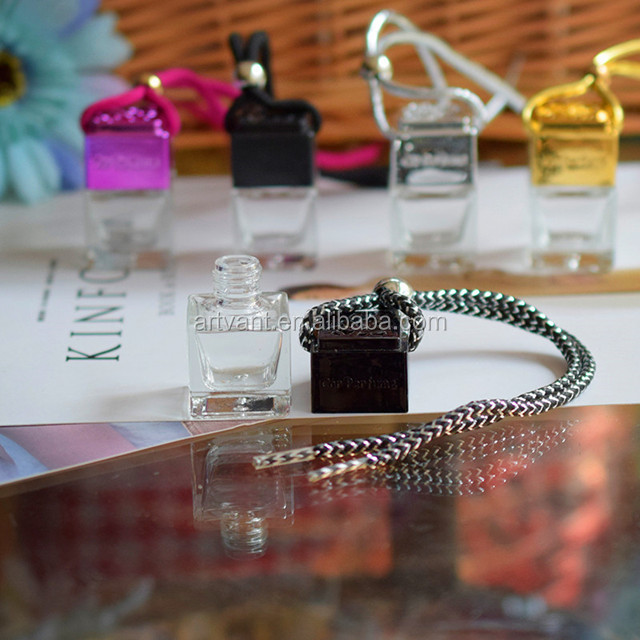 Hot Selling Car Air Freshener 8ML Empty Square Shape Car Hanging Perfume Bottles Glass Diffuser Bottle for Essential Oils