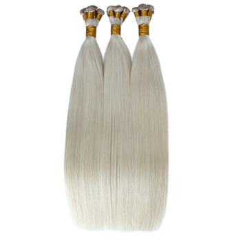 cuticle aligned virgin white blonde hand tied weft hair extension