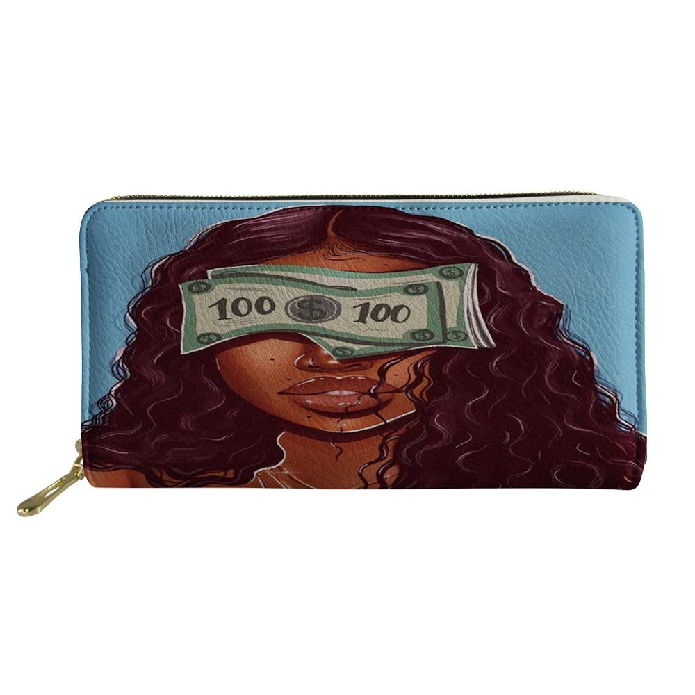 Female <strong>Wallet</strong> Black Art Afro Lady Girls Printing PU Leather Women's Purse Coin Cash Fashion <strong>Wallets</strong> for Ladies