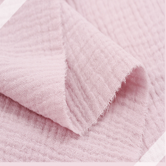 high quality 2 layers 100% cotton crinkled muslin plain fabric for pajama clothes and swaddles