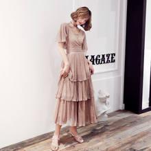 Женское платье без рукавов It's Yiiya, вечернее платье трапециевидной формы с v-образным вырезом и блестками, LF224, 2019(Китай)