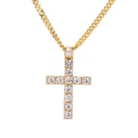 Fashionable elegant diamond Cross Christian personalized custom necklace jewelry pendant men gold plated choker necklace women