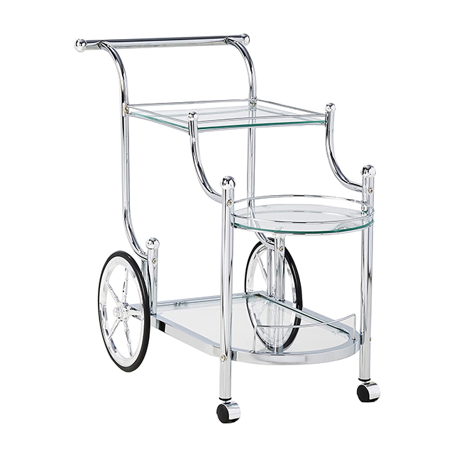 Luxury gold silver metal glass tea wine food catering drinks serving trolley bar cart for hotel restaurant wedding party