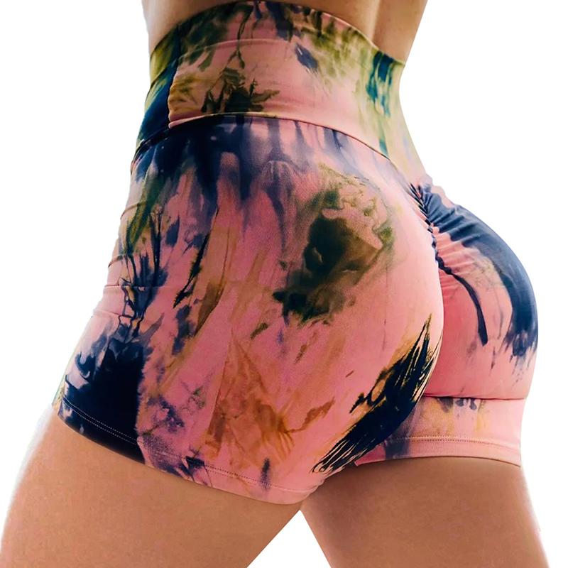 2020 New Arrived High Quality Fashion Summer Women High Waist Tie Dye Print Yoga Booty Shorts