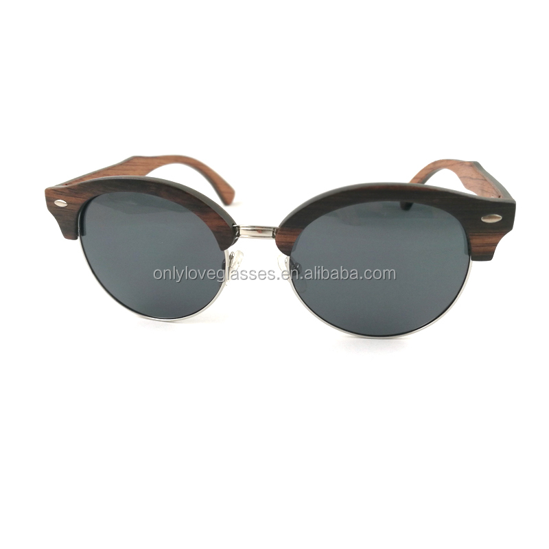 2020 New Arrival Custom  brand fashion round  wooden sunglasses