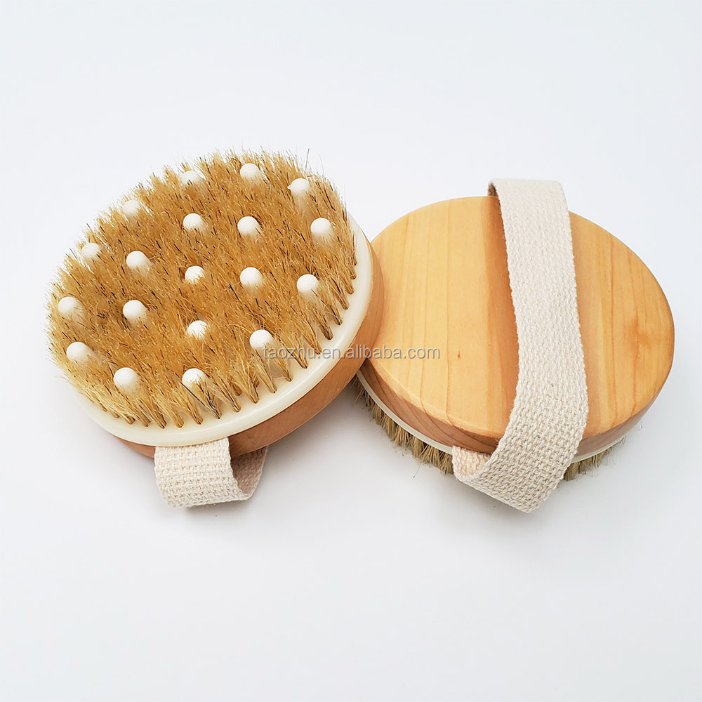 Natural Bristles massage nodes Body Bath Brush for Wet or Dry Brushing