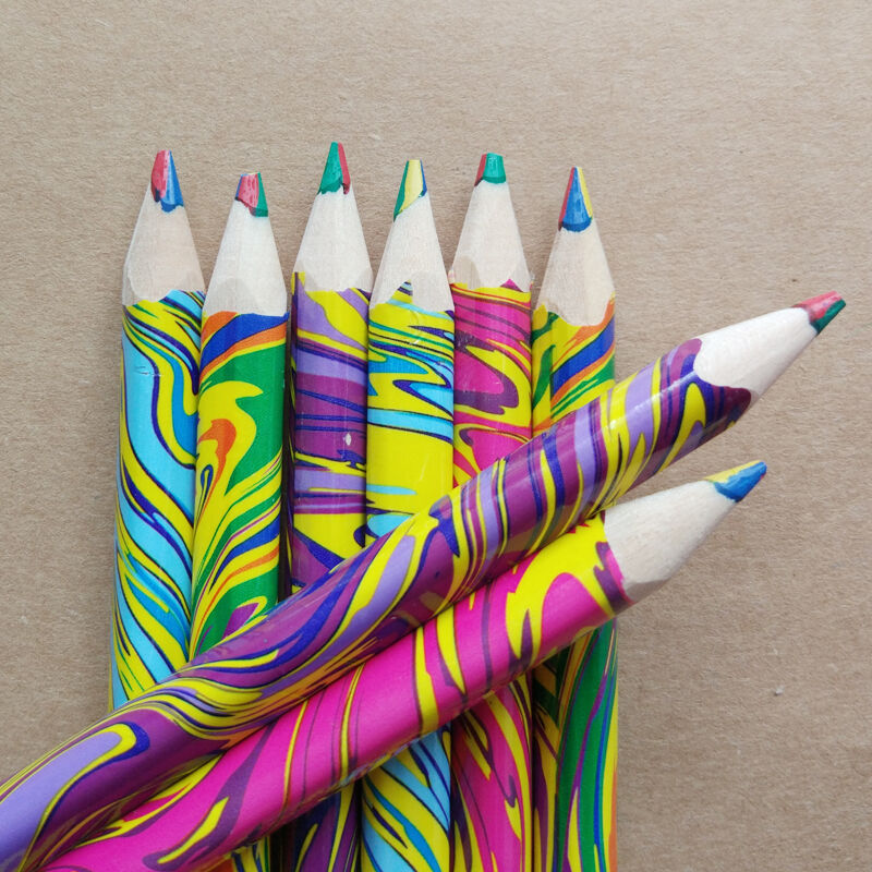 customized high quality 6 colored oily personalized drawing water-soluble colored pencils set schools use
