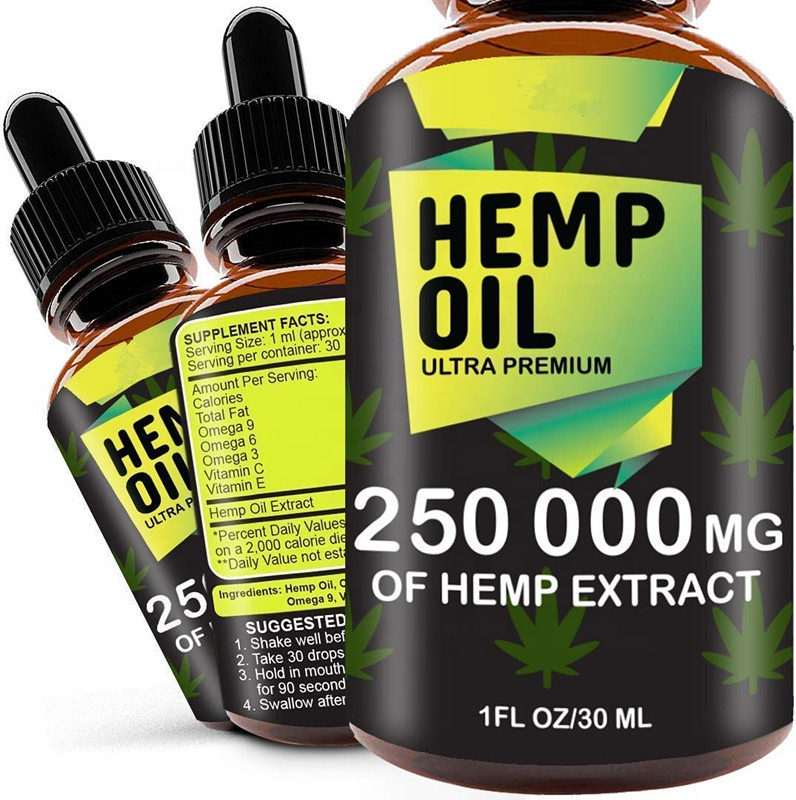 Hemp Oil Drops 250 000 mg Natural CO2 Extracted 100% Organic Pain