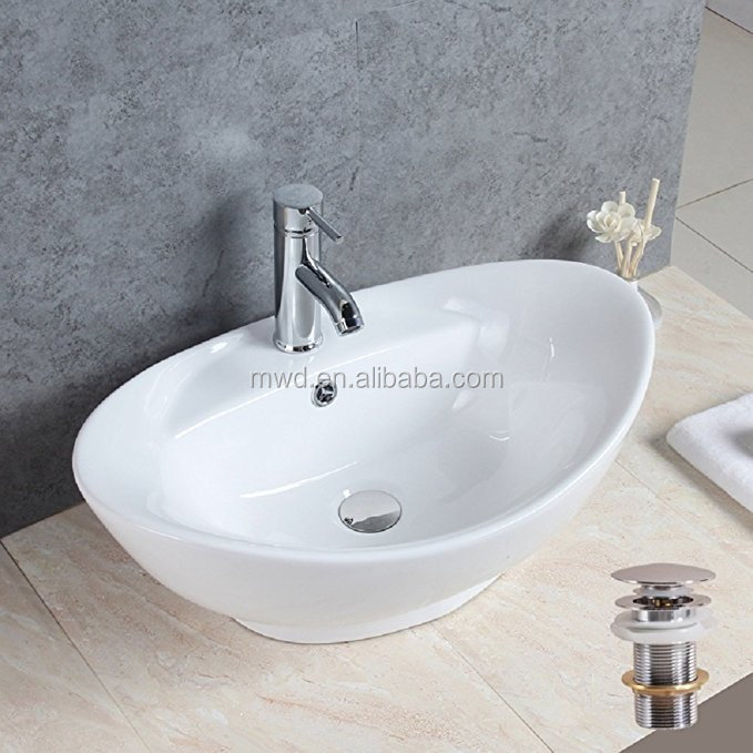 Oval Shape Countertop Art Basin White Ceramic Bathroom Vessel Sink - Buy  Unique Bathroom Sinks,Bathroom Vessel Sinks,Single Bowl With Tap Hole  Product ...