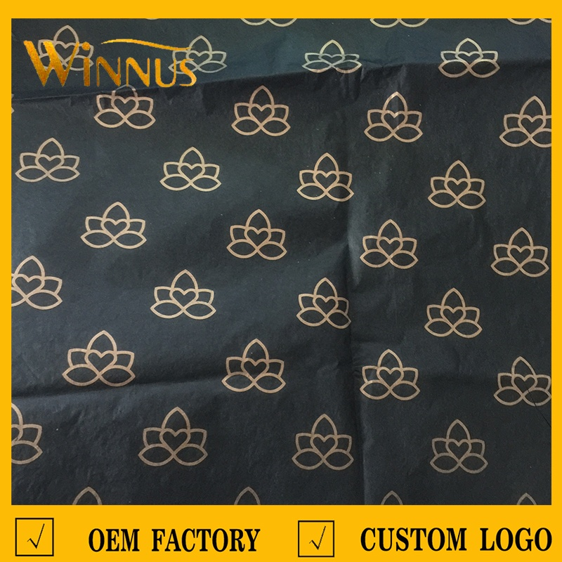 China guangdong custom brand name personalized printed eco friendly pink white black wrapping tissue paper with company logo