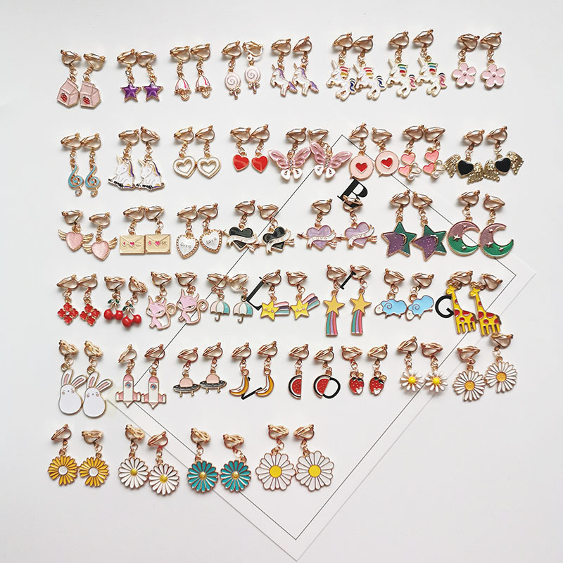 Korean simple cartoon without pierced ear clips Children Cute Earring