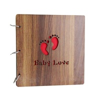 New product high quality wooden cover photo album for baby, DIY scrapbook album photo