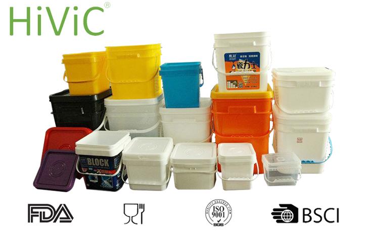Fornecer 2L 5L 8L 10L 15L 18L 20L quadrado balde de plástico em grau alimentício