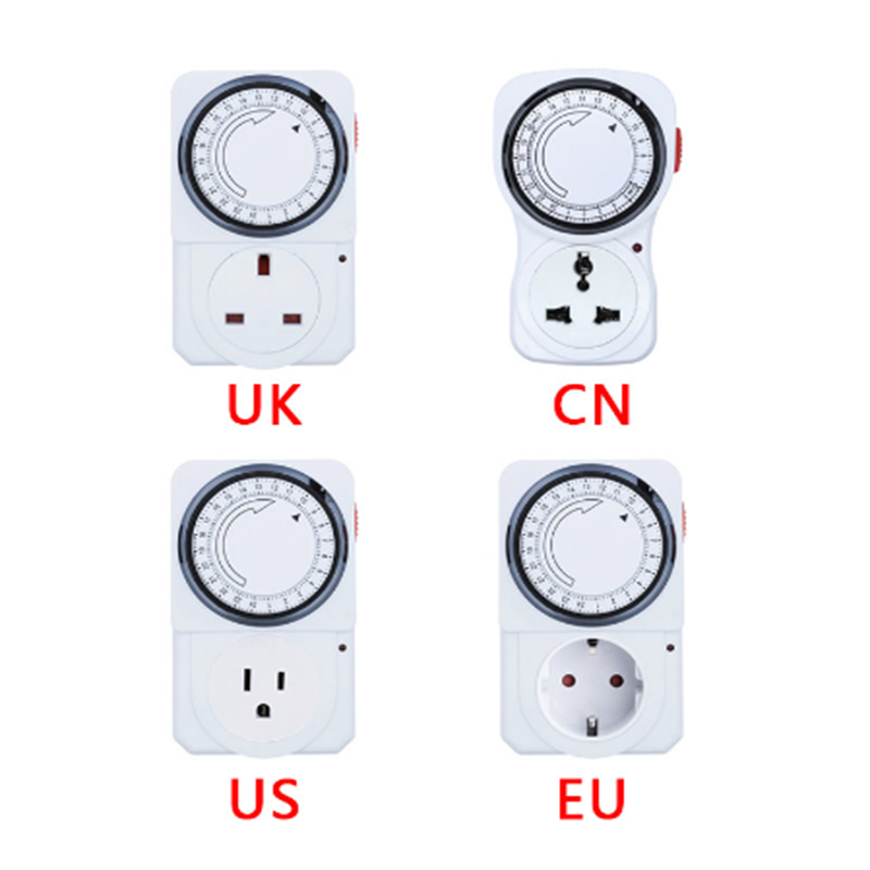 24 Uur Cyclische Tijdschakelaar Kookwekker Outlet Loop Universele Timing Socket Mechanische Timer 230VAC 3500W 16A Uk Eu cn Us Plug